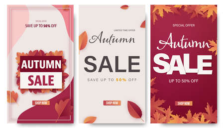 Set of autumn banner for for shopping sale or social media stories template