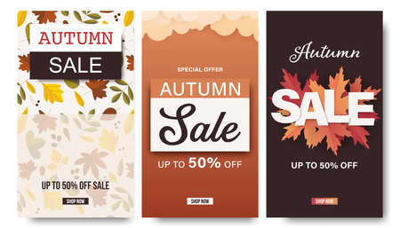 Set of autumn banner for for shopping sale or social media storise template 矢量图像