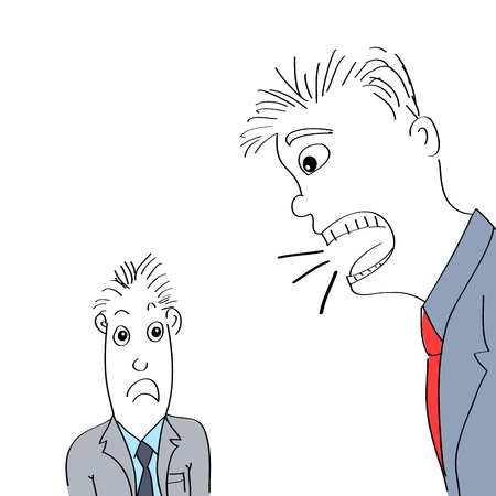 Hand getrokken illustratie van boze baas schreeuwen op werknemer