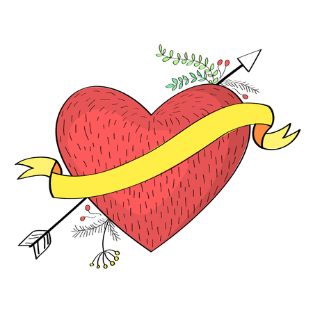 Hand drawn arrow piercing through heart Illustration