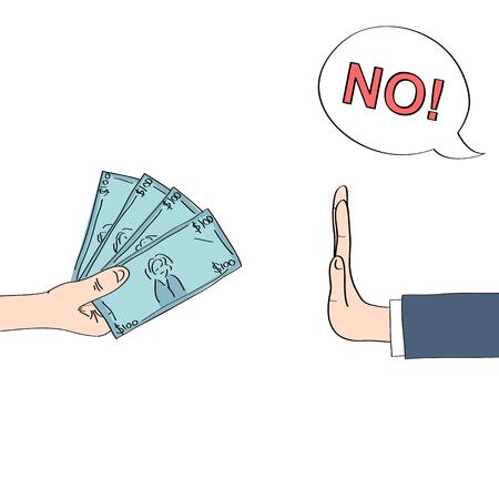 dibujado a mano ilustración de rechazar el dinero que representa el concepto anti-corrupción mano. Ilustración de vector