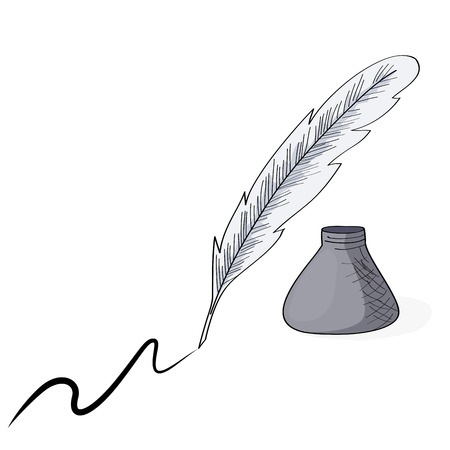 Old style quill and ink pot drawing.