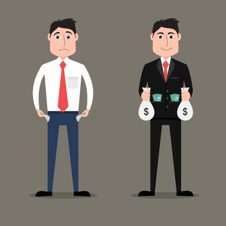 Flat style illustration of rich vs poor businessman