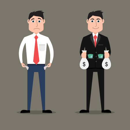 Flat style illustration of rich vs poor businessman