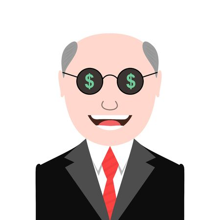 materialistic: Greedy man with dollar signs glasses Illustration