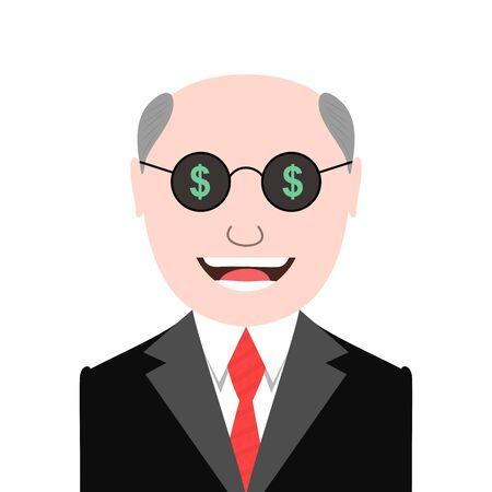 Greedy man with dollar signs glasses Illustration