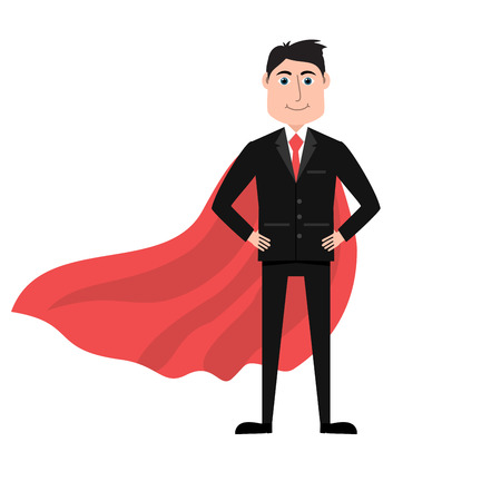 invincible: Confident businessman in black suit and red cape