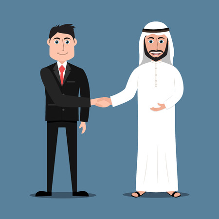 thobe: Happy Arab man in traditional dress and a western businessman in suit shaking hands