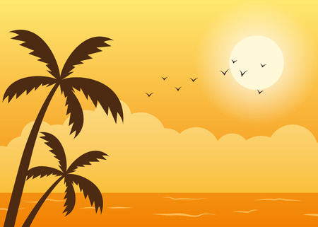 Tropical beach summer sunset scene with palm tress silhouette