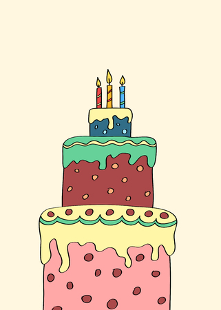 tier: Hand drawn three tier cake