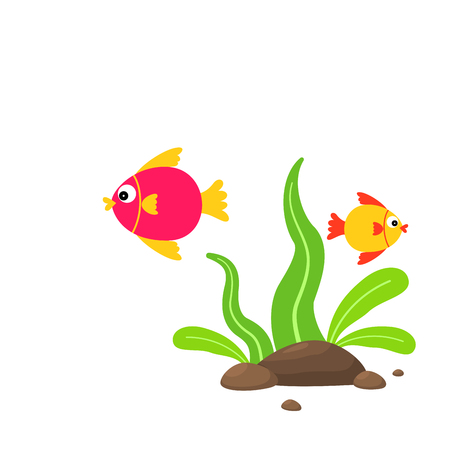 Cute cartoon fish with sea plants and stones