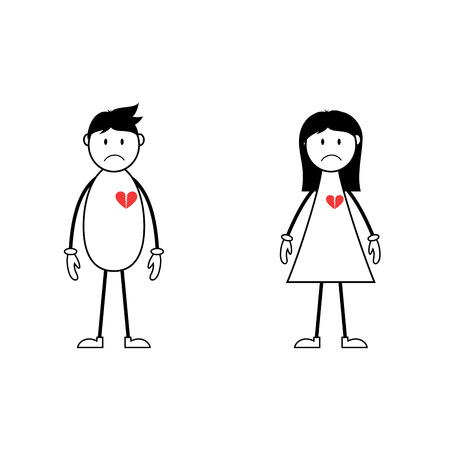 Male and female stick figures with broken hearts 向量圖像