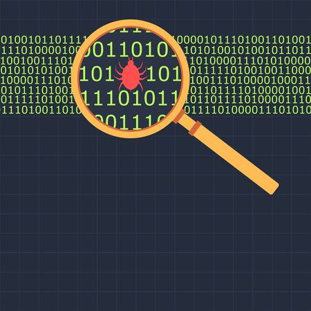 find fault: Magnifying glass looking at binary code finding bug Illustration