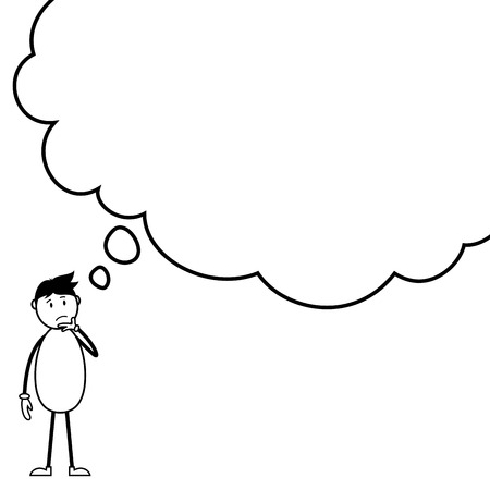 Thoughtful stickman with a thought bubble Illustration
