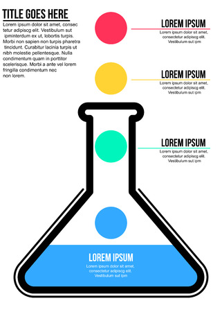 Conical flask science concept info graphic template Illustration