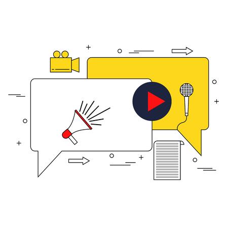 Video marketing concept thin line style illustration Illustration