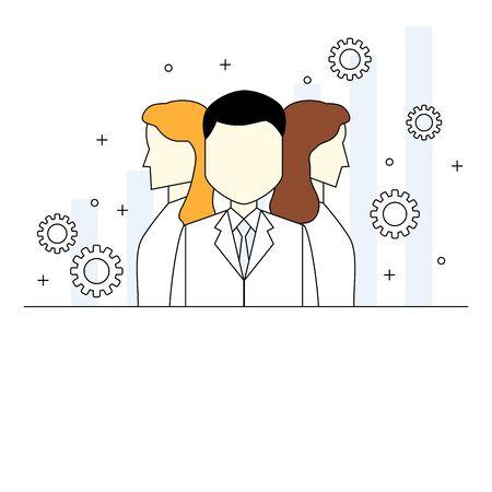 Business team concept thin line style illustration Ilustração