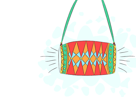 Hand drawn illustration of traditional indian two sided drum called dhol Illustration