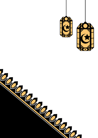 Black and gold Islamic style background with lanterns