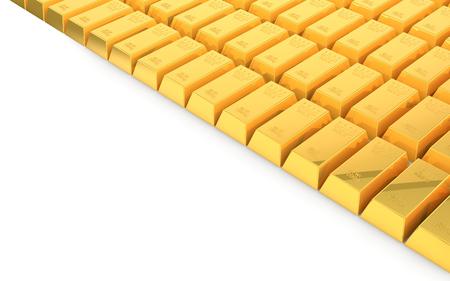 3d rendering of gold bullion on white  background