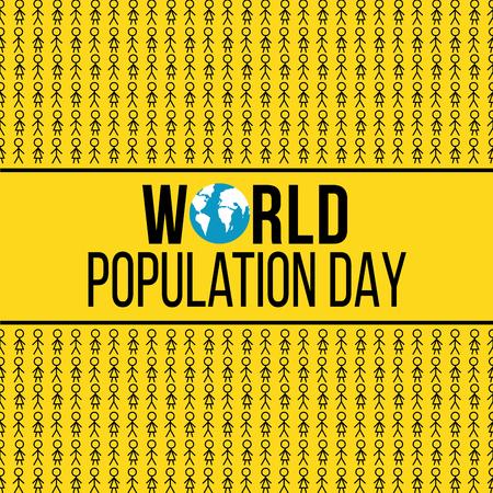 Día mundial de la población bandera amarilla con figuras de palo Ilustración de vector