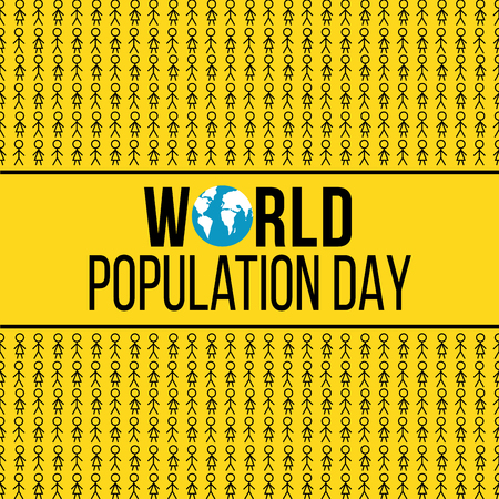 World population day yellow banner with stick figures