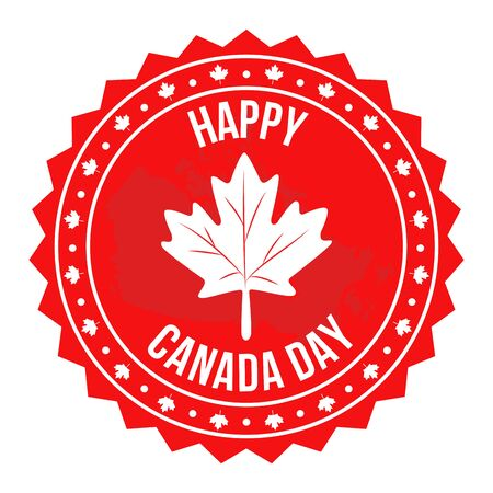 Canada day red circular label Illustration
