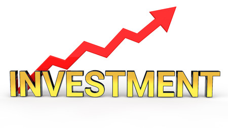 3D rendering of golden word Investment with rising red arrow Stock Photo