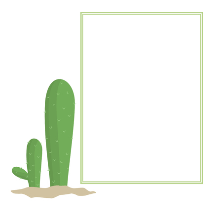 Cartoon style cactus plants and blank frame Иллюстрация