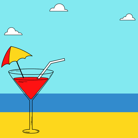 Summer drink tropical climate banner Illustration