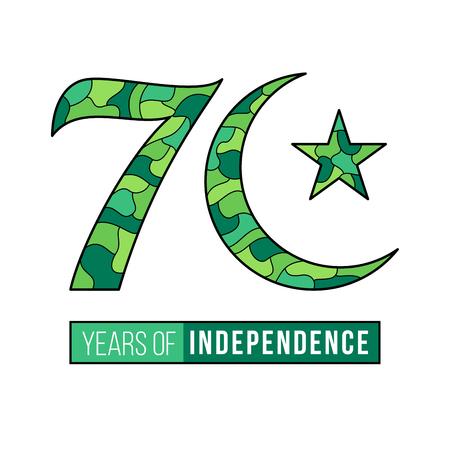 Seventy years independence of Pakistan celebration design illustration.