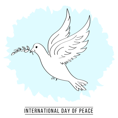 Hand drawn dove international day of peace banner