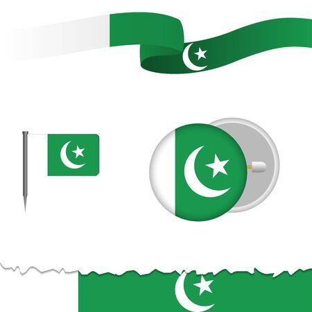 Pakistani flag themed different design elements