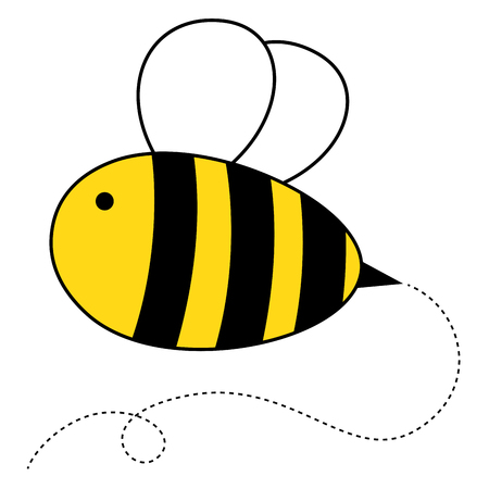 Cute cartoon honey bee vector illustration.