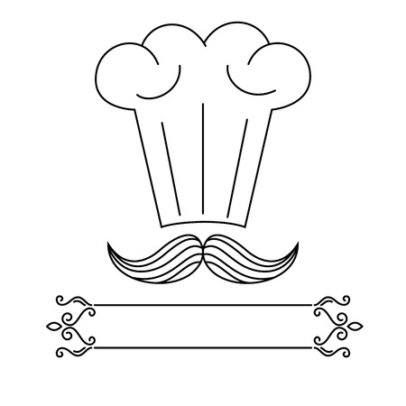 Chef hat and mustaches drawing logo Stock Vector - 84046572