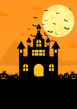 Halloween witch castle scene with bats and pumpkins