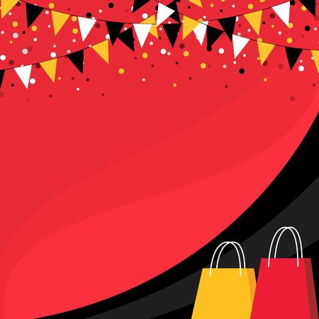 Red and black banner with buntings and shopping bags. Illustration