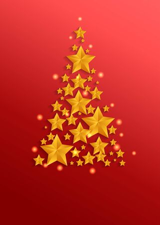 Golden stars christmas tree on red background