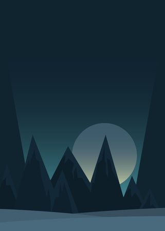 Backlit mountains night poster with rising moon.