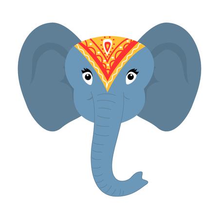 Indian style cute cartoon baby elephant face