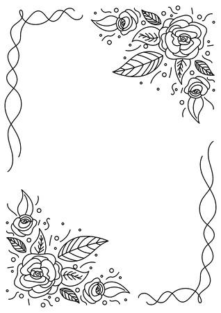 Hand drawn floral corners frame in black and white Vector illustration. Ilustração
