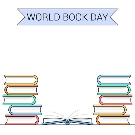World book day themed banner Vector illustration.