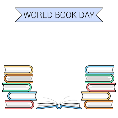 World book day themed banner Vector illustration.