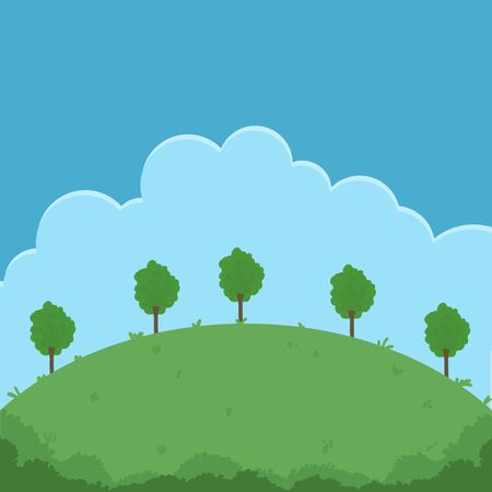 Nature outdoors scene banner with trees and clouds Illustration