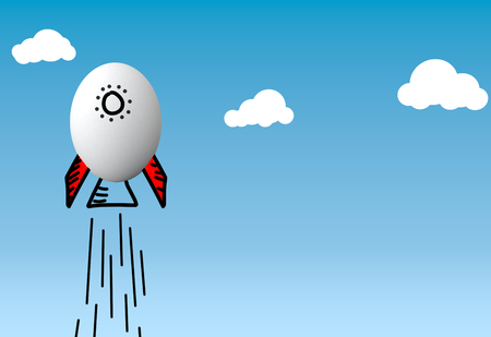 3d rising egg shape rocket in the blue sky with clouds 版權商用圖片