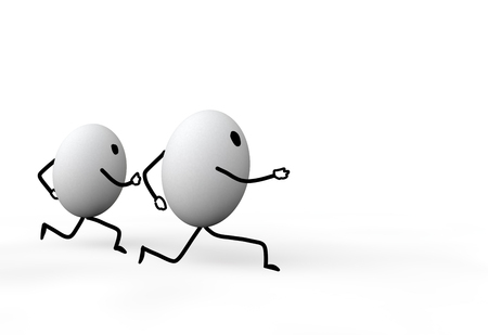 3d eggs stickmen running in competition