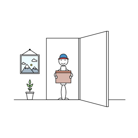 Delivery man with a package in open door Vector illustration.