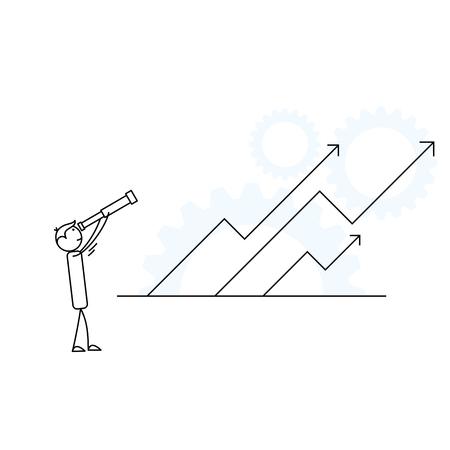 立ち上がる矢印に向かって見上げる望遠鏡を持つ人間のスティックフィギュア ベクトル図。