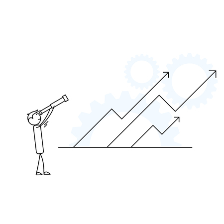 Human stick figure with a telescope looking up towards rising arrows Vector illustration.