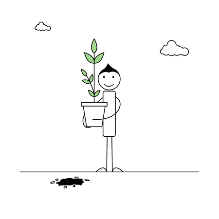 Human stick figure with a plant vector illustration design